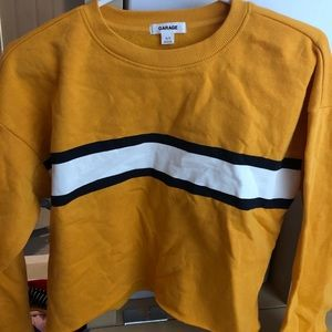 Yellow striped cropped sweatshirt from garage